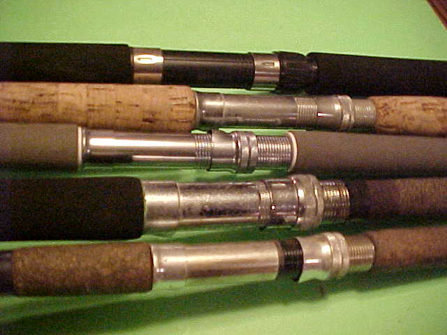 SET OF 5 MISCELLANEOUS SPINNING FISHING RODS, SABRE,PINNACLE